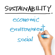 A hand writes the words Sustainability, economic, environment, and social