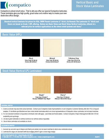 Cover of the Basic Vertical Laminates brochure.