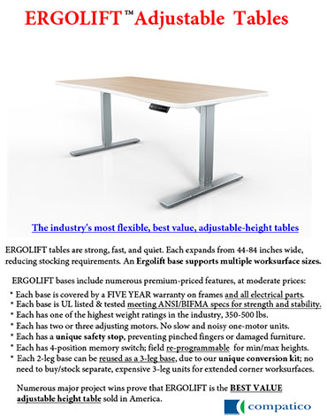 Cover of the Ergolift Adjustable Tables brochure